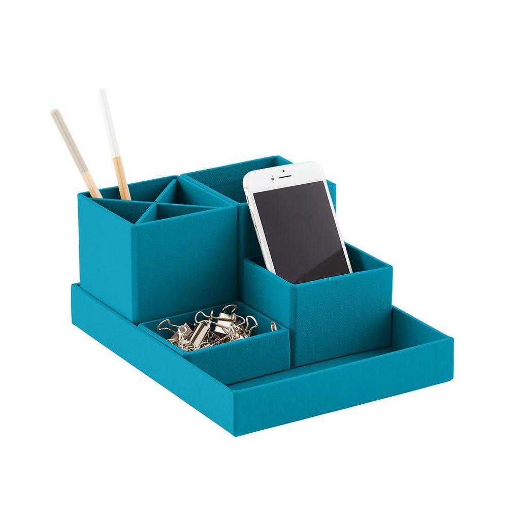 Bigso Turquoise Stockholm Desktop Organizer