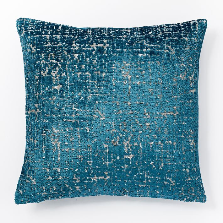 Blue Teal Jacquard Velvet Textured Pillow Cover
