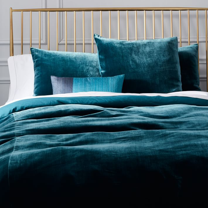 Blue Teal Luxe Velvet Duvet Cover