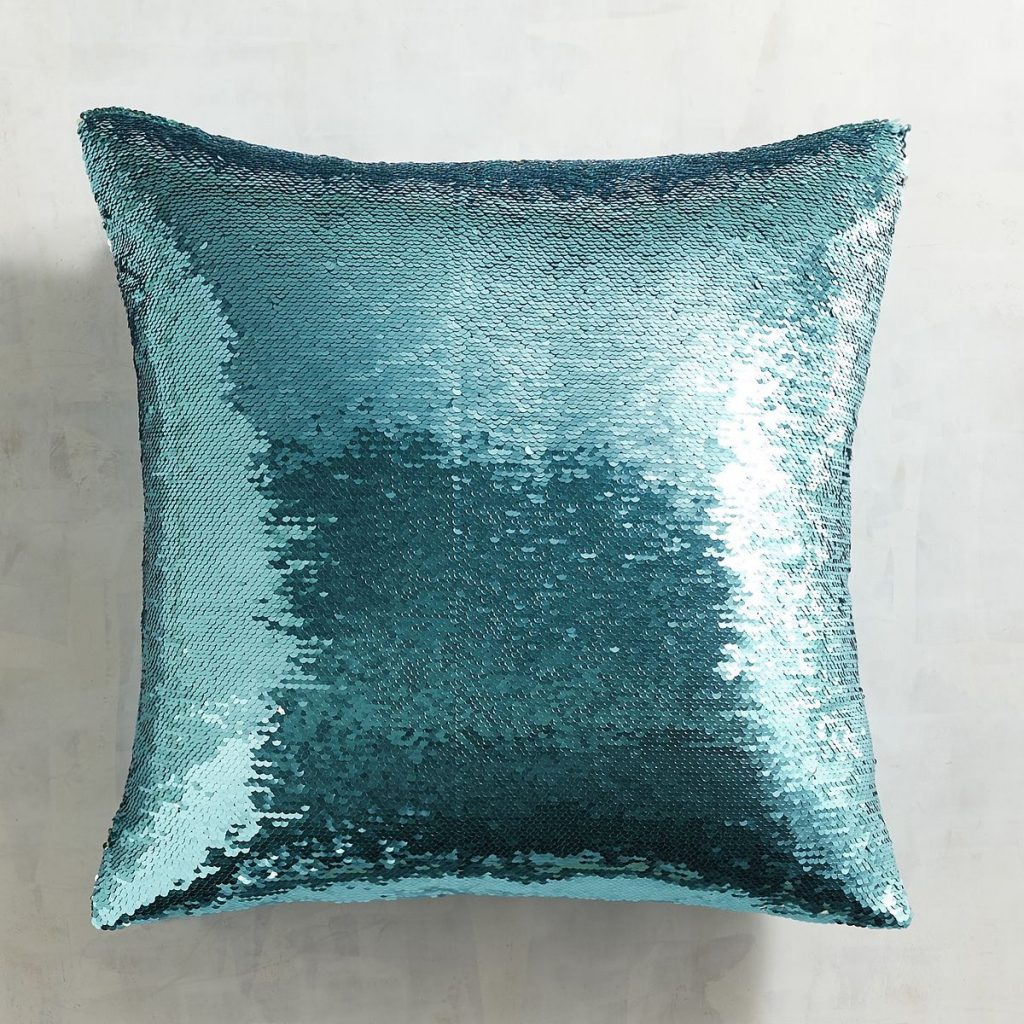 Gold & Teal Sequined Mermaid Pillow