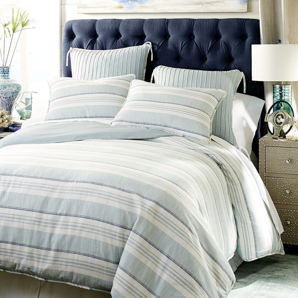 Marina Striped Blue Duvet Cover & Sham