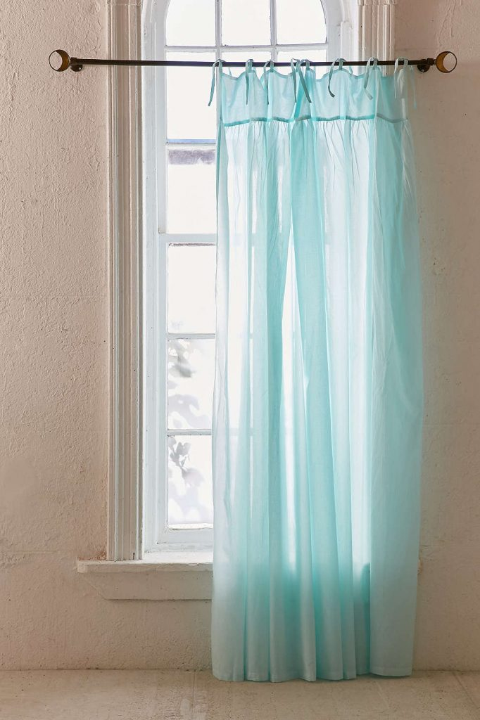 Seafoam Gathered Voile Curtain